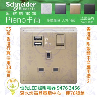 Schneider 施耐德 Pieno 丰尚 沉醉金 13A單位有掣插座連兩位2.1A USB充電插座 E8215USB_WG_C5 香港行貨 保用18個月