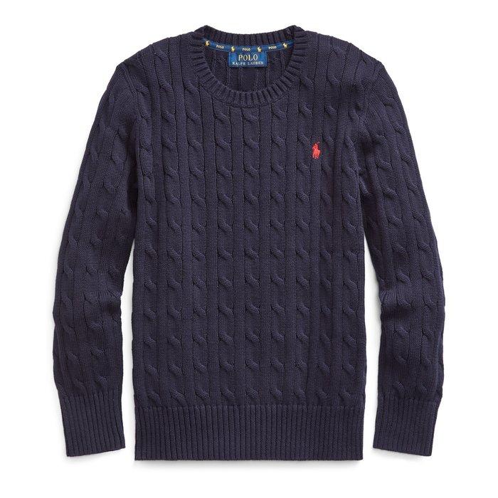 全新美國Polo Ralph Lauren 藍色繡馬針織麻花純棉毛衣 大童M
