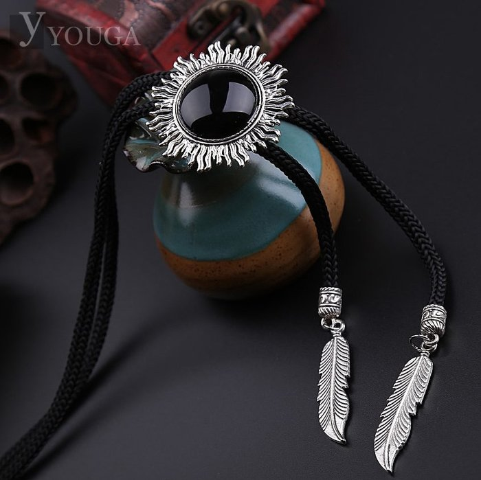 精致復古黑瑪瑙寶石波洛領帶  襯衫結領 潮流飾品 高品質bolotie