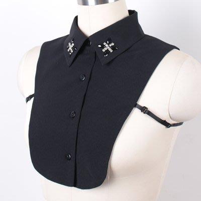 假領子 襯衫 領片-手工鑲嵌水鑽雪紡女裝配件2色73va41[獨家進口][米蘭精品]