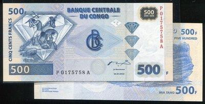CONGO D.Rep(剛果民主國紙幣), P96 ,500-FR. ,2002,品相全新UNC 國際#19051025