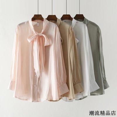 早秋新款氣質名媛緞面襯衫女仙女燈籠袖系帶中長款打底上衣潮