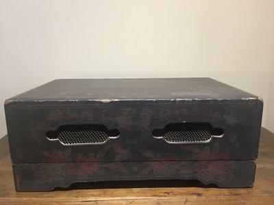 【一(藝)窩】清代 黑漆置物箱 / 置物盒~榆木~