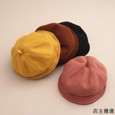 帽子女秋冬日系文藝羊毛小帽檐貝雷帽韓版百搭毛呢八角帽南瓜帽潮