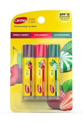 【雷恩的美國小舖】Carmex 小蜜堤護脣膏 綜合水果 三入組 草莓 櫻桃 薄荷 超值組