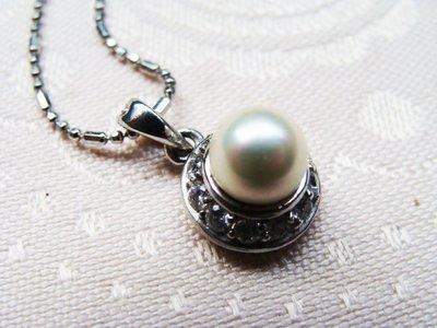 嗨,寶貝手創飾品工作室* 925純銀飾☆百貨公司專櫃正品天然珍珠-晶鑽墜子(含鍊子)