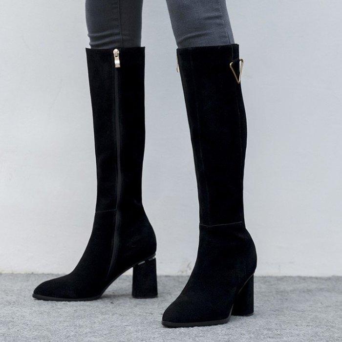 『Alice❤愛麗絲』韓版時尚秋冬新款過膝高筒長靴磨砂真皮尖頭粗跟高跟女靴