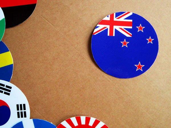 【國旗貼紙專賣店】紐西蘭國旗圓形旅行箱貼紙/抗UV防水/世界多國款可收集和客製