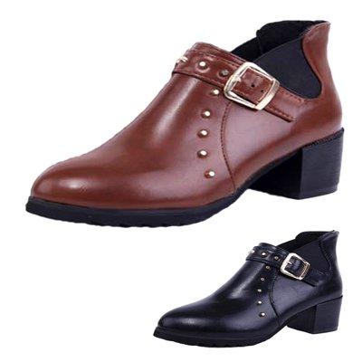 包郵 ANKLE BOOTS 黑/棕色 歐美 短筒 靴 中跟 馬丁靴 英倫 柳釘 短靴 粗跟 及裸靴 女靴 女鞋 VANCY 大碼 34-43碼  SB54