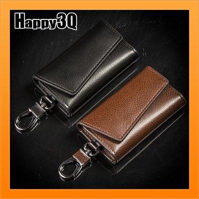 多功能鑰匙包磁扣感應鈔票位簡約大氣掛腰鑰匙收納包-黑/咖【AAA4135】