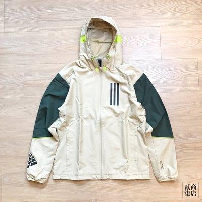 (貳柒商店) adidas W.N.D. Jacket 男款 米色 卡其色 外套 防風外套 WND 拼接 GF4014