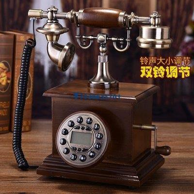 驢友之家 創意復古電話時尚實木歐式仿古電話機 家用座機工藝禮品老式電話機