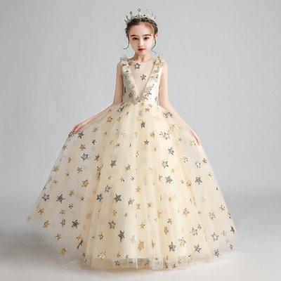 女童高端禮服兒童公主裙蓬蓬紗洋氣主持人鋼琴演出服小花童婚紗裙香檳色