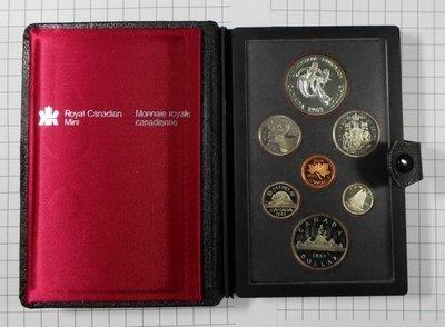 RR596 加拿大1983年1 Cent~1 Dollar 精鑄套幣說明書 共7枚原皮盒含銀幣