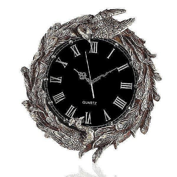 【格倫雅】^紫矜語 歐式奢華靜音掛鐘孔雀造型樹脂客廳壁鐘複古藝術時鐘~復古46969[