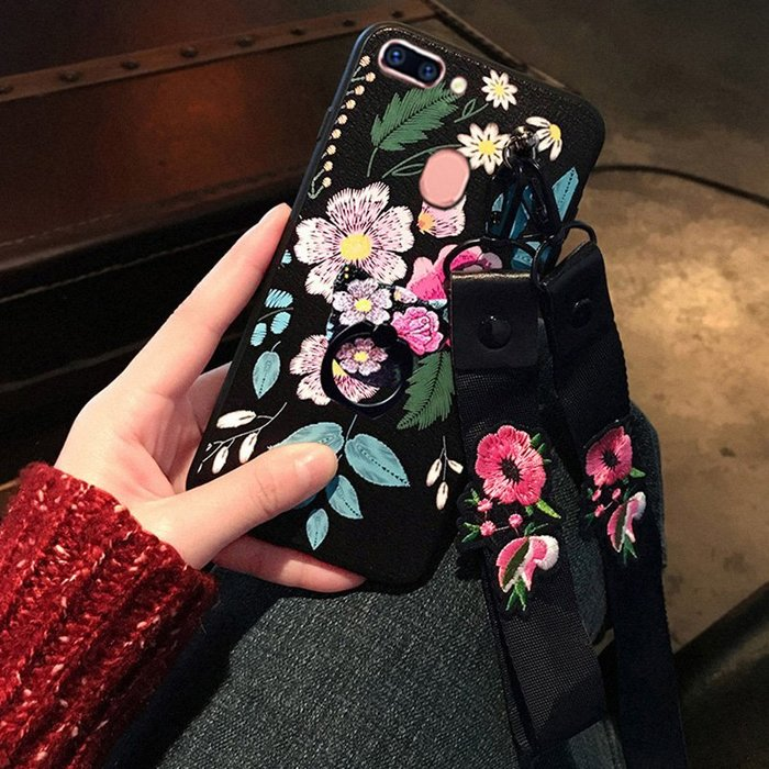 OPPO R15 R11S R11 R9SPLUS 手機殼 歐美潮牌 復古花朵 浮雕彩繪 皮紋手感 支架指環扣 帶掛繩