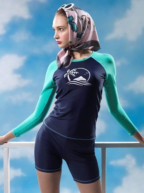 ~有氧小舖~2019 SARLEE 沙麗 長袖兩件式泳裝 拼接色塊長袖泳衣+四角泳褲 水母衣 防曬 附泳帽