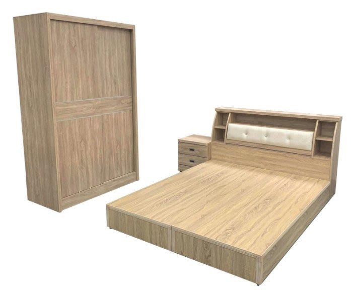 台中二手家具 西屯樂居全新中古傢俱WG11AAj*全新梧桐5X6雙人床底+床頭櫃+床邊櫃+4尺衣櫃*臥室家具 床組