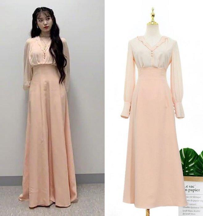 預購-韓劇同款德魯納酒店IU同款李知恩同款粉色V領寬鬆襯衫上衣女下標區