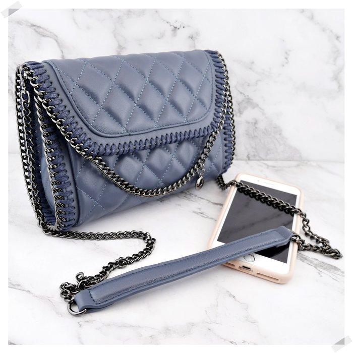 預購包款,請先詢問!  NINI Shop!  真皮 羊皮 24cm 環繞鍊帶小香包(長鏈帶)- 湛藍