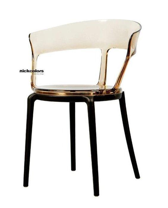 尼克卡樂斯 ~ 輕奢華透明水晶質感餐椅 電腦椅 書桌椅 咖啡廳椅子 陽台椅 烟灰/琥珀/透明 三色可選