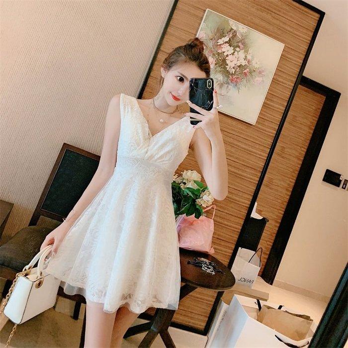 現貨供應[0123271]小資平價禮服坊-仙氣蕾絲V領高腰顯瘦小洋裝-純真白