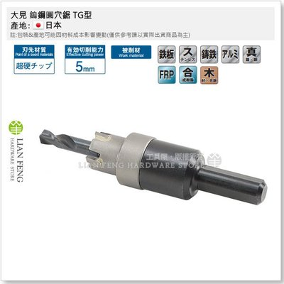 【工具屋】大見 鎢鋼圓穴鋸 TG型 24mm 超硬型 薄鐵板 FRP 圓形鑽孔 配線 丸穴鋸 配管 日本製