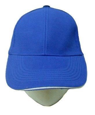 ☆創意特色專賣店☆6片網眼排汗帽.棒球帽.帽眉夾三明治(寶藍夾白)