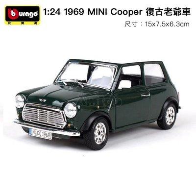 Bburago 1:24 1969 MINI Cooper 復古老爺車 GG22011 合金車 模型預購阿米格Amigo