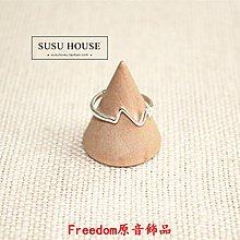 Freedom`原音飾品心跳心電圖食指戒指女 個性簡約創意波浪指環開口學生尾戒
