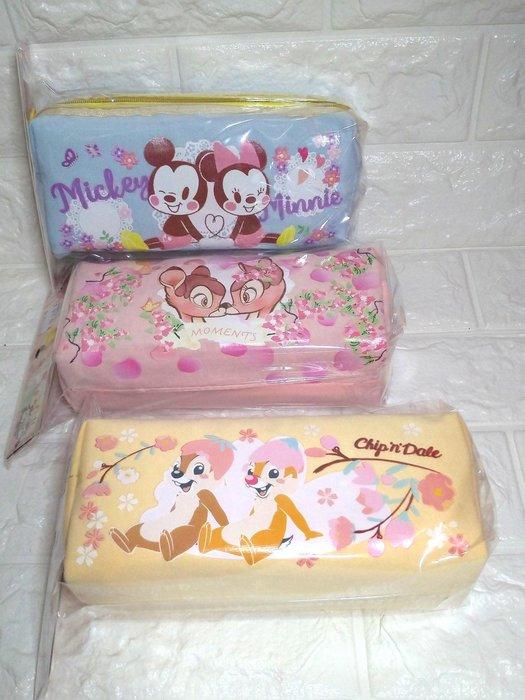 迪士尼櫻花系雙拉鍊棉布筆袋 米奇米妮 奇奇蒂蒂小鹿斑比
