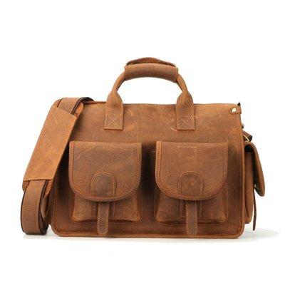 【爆款】手提包公文包男士亞馬遜爆款多功能真皮定制支持單肩斜跨男包休閒