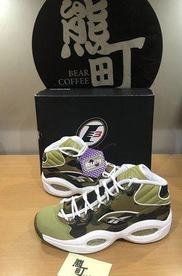 9.5 全新正品 REEBOK QUESTION MID X APE X MITA 麂皮籃球鞋(綠迷彩).BD4232