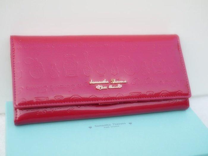 笑笑專屬® 日本Samantha Thavasa Petit Choice 玫紅色亮皮琺瑯圖案按釦長夾 錢包 現貨!