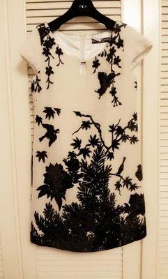 日本設計師Keita Maruyama米白羊毛天鵝絨黑蝴蝶花園剪影小包袖高腰娃娃裝