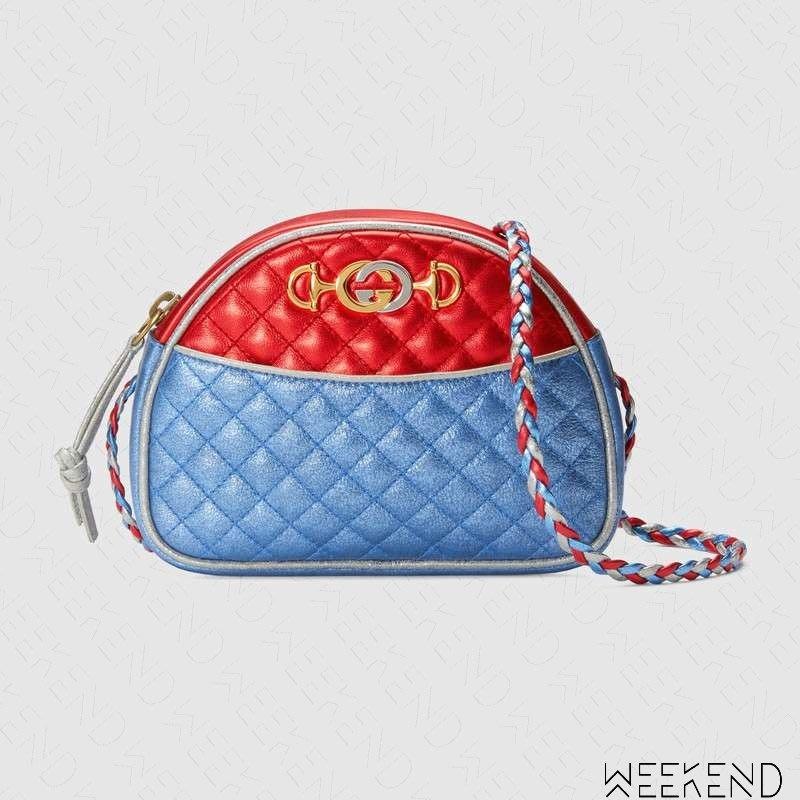 【WEEKEND】 GUCCI Laminated Mini 迷你 壓紋 皮革 肩背包 紅+藍色 534951