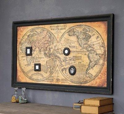 美式法式鄉村大幅世界地圖掛畫仿古做舊地...