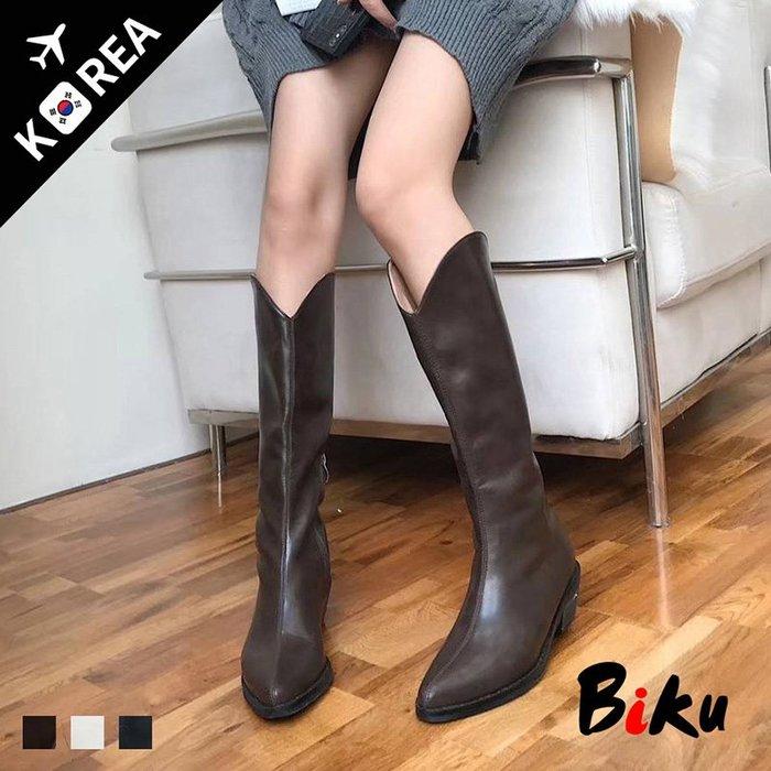 BIKU SHOES 歐美經典顯瘦皮革素面深V口西部長靴 粗跟長筒靴