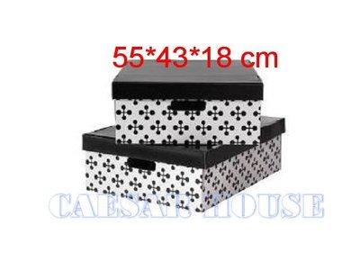 ╭☆凱薩小舖☆╮【IKEA】LINGO 白黑水玉點點附蓋儲物盒/收納盒/禮物盒-大款55*43*18-便利 生活