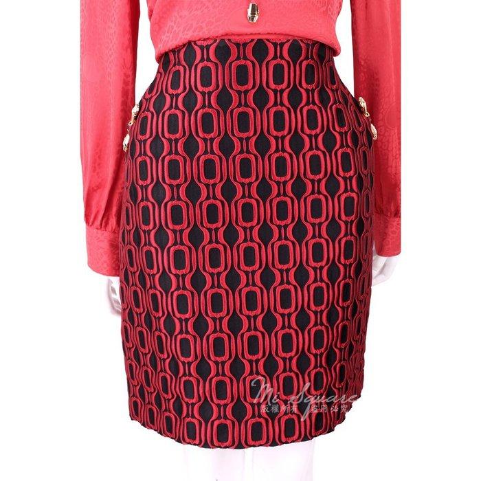 米蘭廣場 CLASS roberto cavalli 紅黑浮雕幾何圖形蛇頭飾苞裙 1710657-26