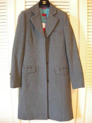 全新【Pringle】紅標鐵灰色西裝領羊毛長大衣