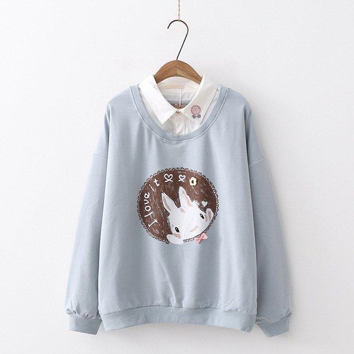 ☆紫米粒小舖☆【R40508】圓領 日系森女系兔子印花假兩件長袖上衣。(現貨)