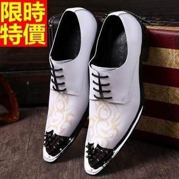 尖頭鞋 真皮皮鞋-復古繡花鉚釘鞋頭低跟男鞋子65ai30[獨家進口][米蘭精品]
