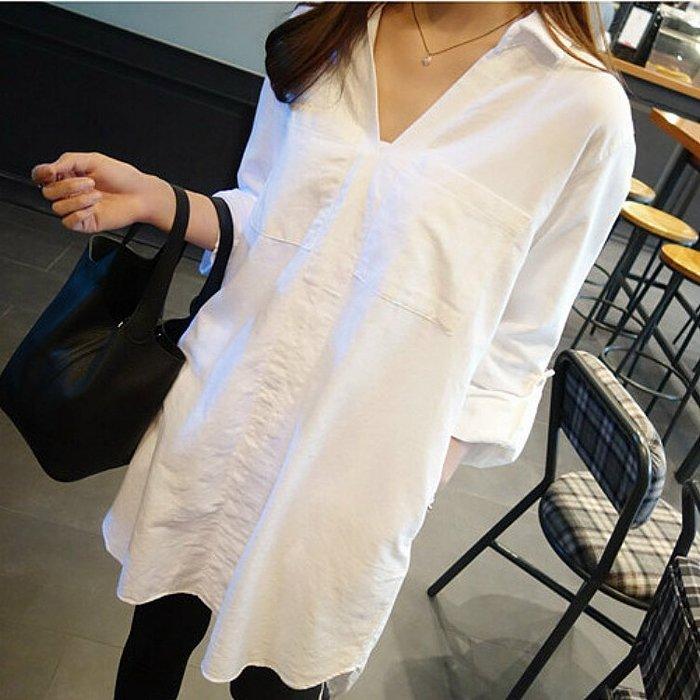 ✿ 吉米花 ✿ B-057392 寬鬆翻領中長款防曬長袖襯衫 ( 白 3XL ) 全碼 現貨
