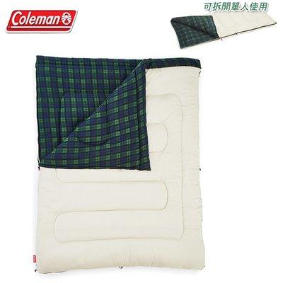 【大山野營】Coleman CM-33804 冒險者橄欖格紋刷毛睡袋/C0 可拆式 纖維睡袋 信封型睡袋 雙人睡袋
