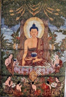 【開運幸運星】現貨 釋迦牟尼佛 藏傳佛教 西藏 唐卡 佛像 尼泊爾 畫像 風水畫 織錦畫 刺繡 鎮宅 k A198-3