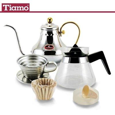 TIAMO超值蛋糕型手沖咖啡6件組(K01濾杯+滴水盤+豆杓+K01濾紙+咖啡壺400ml+細口壺HA8561)