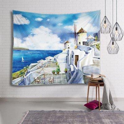 毯壁掛 桌布沙發巾 床頭掛毯  沙灘巾  野餐墊 餐桌巾牆壁掛飾 ins掛布 墻面背景裝飾畫布臥室客廳地中海風格掛毯沙發巾桌布