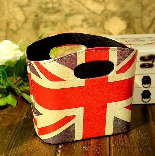 雜貨館 zakka精品 Vintage復古 英倫風 LONDON 英國國旗 米字旗 手提收納盒 裝飾收納箱 雜誌架 禮物