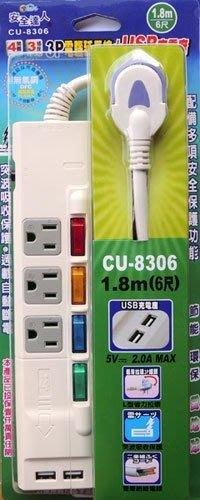【開心驛站】安全達人超薄插座4開3插(3P)15A 1.8M+2個USB充電座 CU-8306R